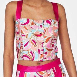 Zara Boho Colorful Paisley Button Front Crop Top